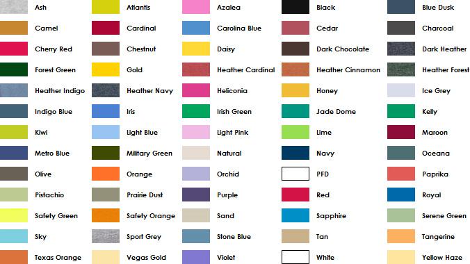 gildan color chart: Gildan color choices images